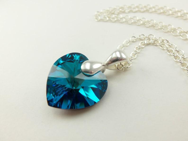 f8c737abe2be Corazón azul collar corazón cristal plata esterlina colgante