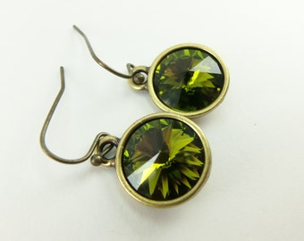 Olive Green Earrings Antiqued Brass Crystal Earrings Drop Earrings Dangle Green Earrings
