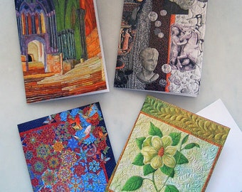 Pack of 4 Art Quilt Greeting Cards with Envelopes  No. 5