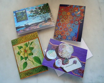 Pack of 4 Art Quilt Greeting Cards with Envelopes  No. 4