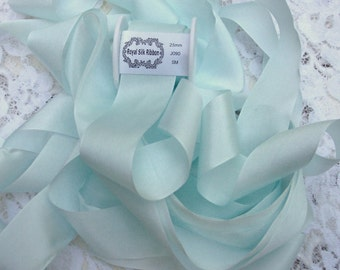 "13MM 100/%PURE SILK RIBBON 1//2/"" WIDE 5YDS  SILVER//MIST"