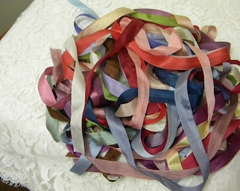 "WIDE  COLOR # 119  8 YDS 100/% VARIEGATED PURE SILK  RIBBON 1//4/"" 7MM"