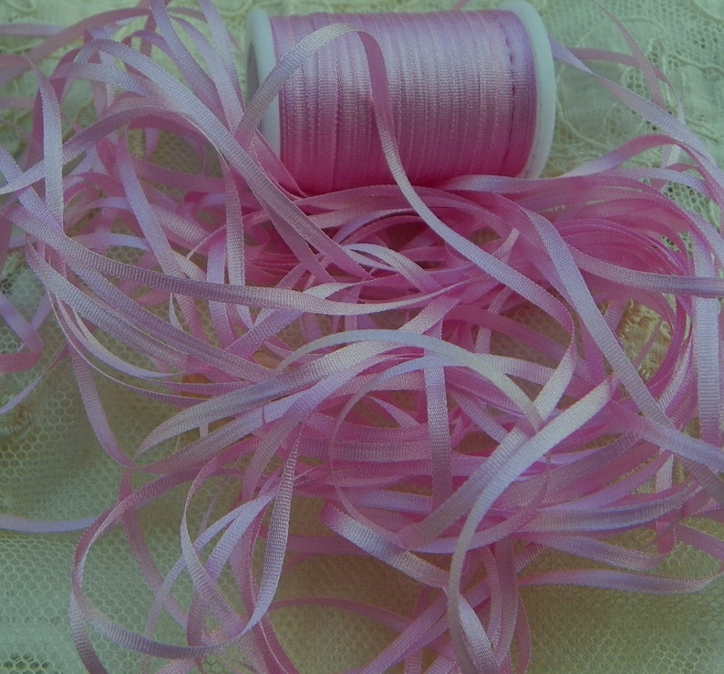 100/% SILK EMBROIDERY RIBBON 2MM 25 YARD SPOOL WHITE  COLOR