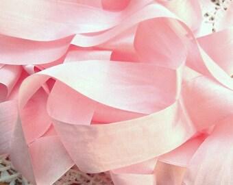 Pure Silk Ribbon Pale/PinkColor 1inch 25mm wide 5 yard Spool