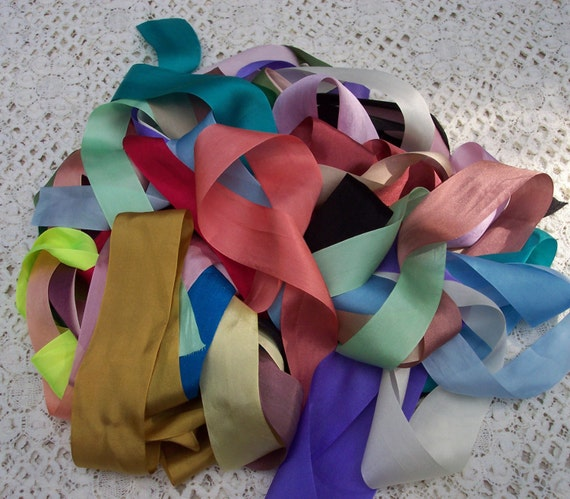 7mm WIDE VARIEGATED 100/%PURE SILK RIBBON 50 YD ASSORTMT.1//4/""