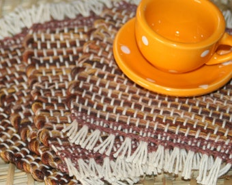 Brown Coasters - Eco Friendly Cotton Mug Rugs - Handwoven Coasters in Shades of Brown - Set of 4 Coasters with Fringe