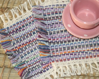 Purple Fringed Coasters - Eco Friendly Lilac Mug Rugs - Handwoven Coasters in Purple - Set of 2 Square Fringed Coasters