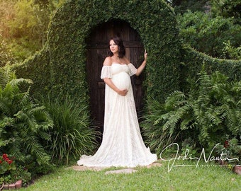 1daf0c86c1606 Chicaboo Maternity Boho Willow Gown (One Size). You choose color. Lace  maternity Gown. Maternity dress photoshoot. Maternity Gown Photoshoot