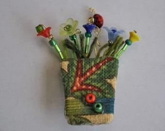 Flowerpot Pin, Recycled, Fabric, Summer Flowers, Garden, Brooch, Springtime Flowers, Ladybug