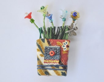 Flowerpot Pin, Recycled fabric, Summer Flowers, Festive, Blue, Gold Color, Michigan Made, Whimsical, Beads, Dragonfly