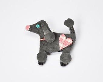 Fifi the Gray French Poodle, Brooch, Pin, Dog, Recycled Material, Pink Heart, Pink and White Beaded Collar, Whimsical, Pet