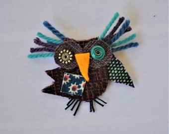 Olivia the Owl Pin, Recycled Fabric, Handmade, Forest, Bird, Purple, Turqoise, Blue and Aqua Spotted Wing, Michigan Made