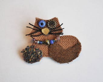 Catnip the Cat Brooch, Recycled Fabric, Repuposed Textiles, Whimsical, Pet, Heart Collar, Michigan Made, Brown Cat