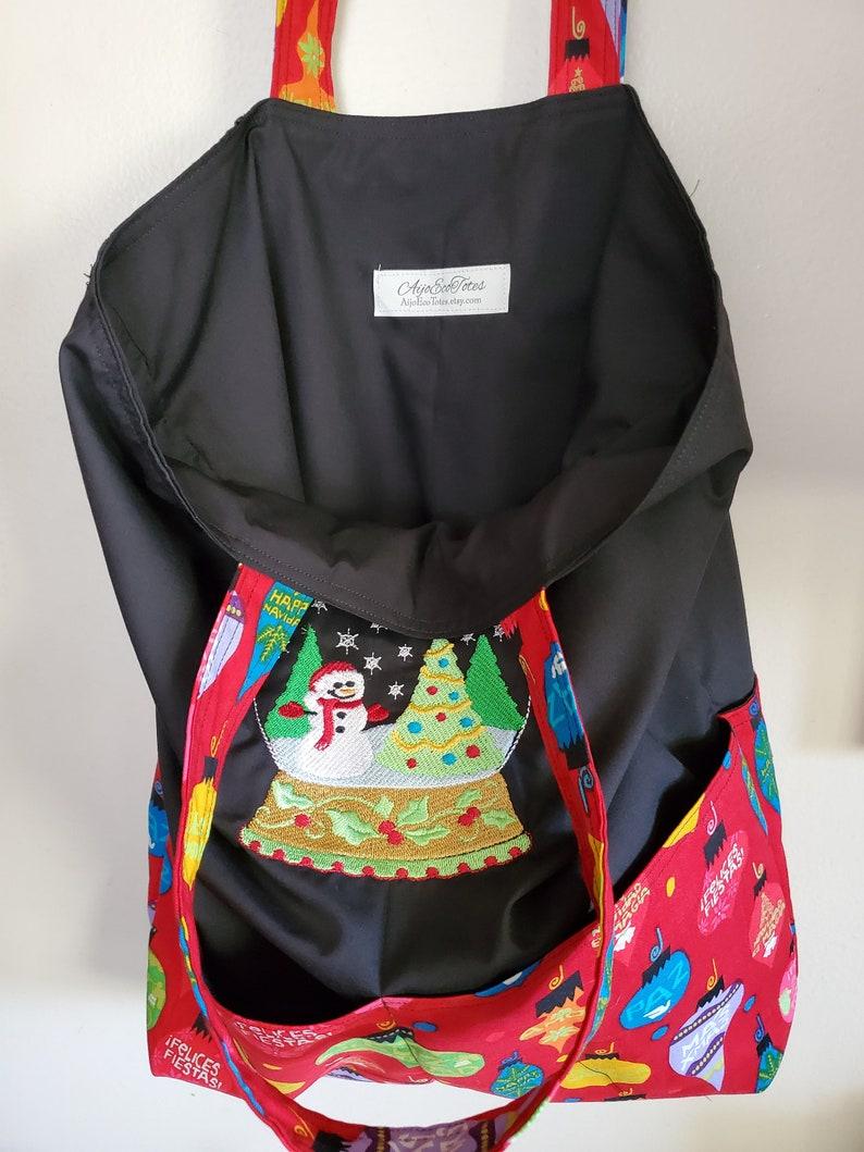 Snowman Snowglobe Christmas Winter Holiday Eco Friendly Tote Shopping Bag