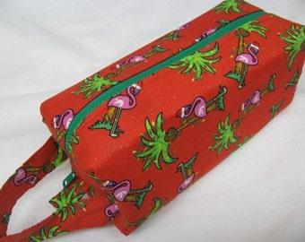 Christmas Flamingos Cosmetic Bag Makeup Bag LARGE