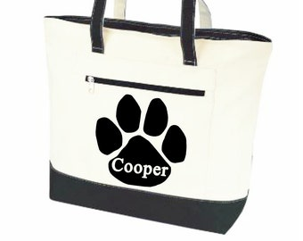 Dog tote, dog tote bags, Pet tote, personalized dog bag, pet name bag, paw print tote, pet supply bag, dog travel bag, canvas zippered bag,