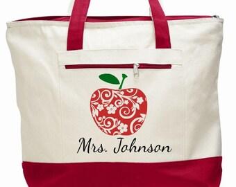 Teacher bags, teacher totes, apple bag, personalized teacher bag, teacher appreciation gift, book bag, student teacher gift, canvas zippered