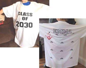 Class of 2030 shirt, handprint tee, preschool shirt, kindergarten graduation shirts, photo prop, first day of school, last day keepsake