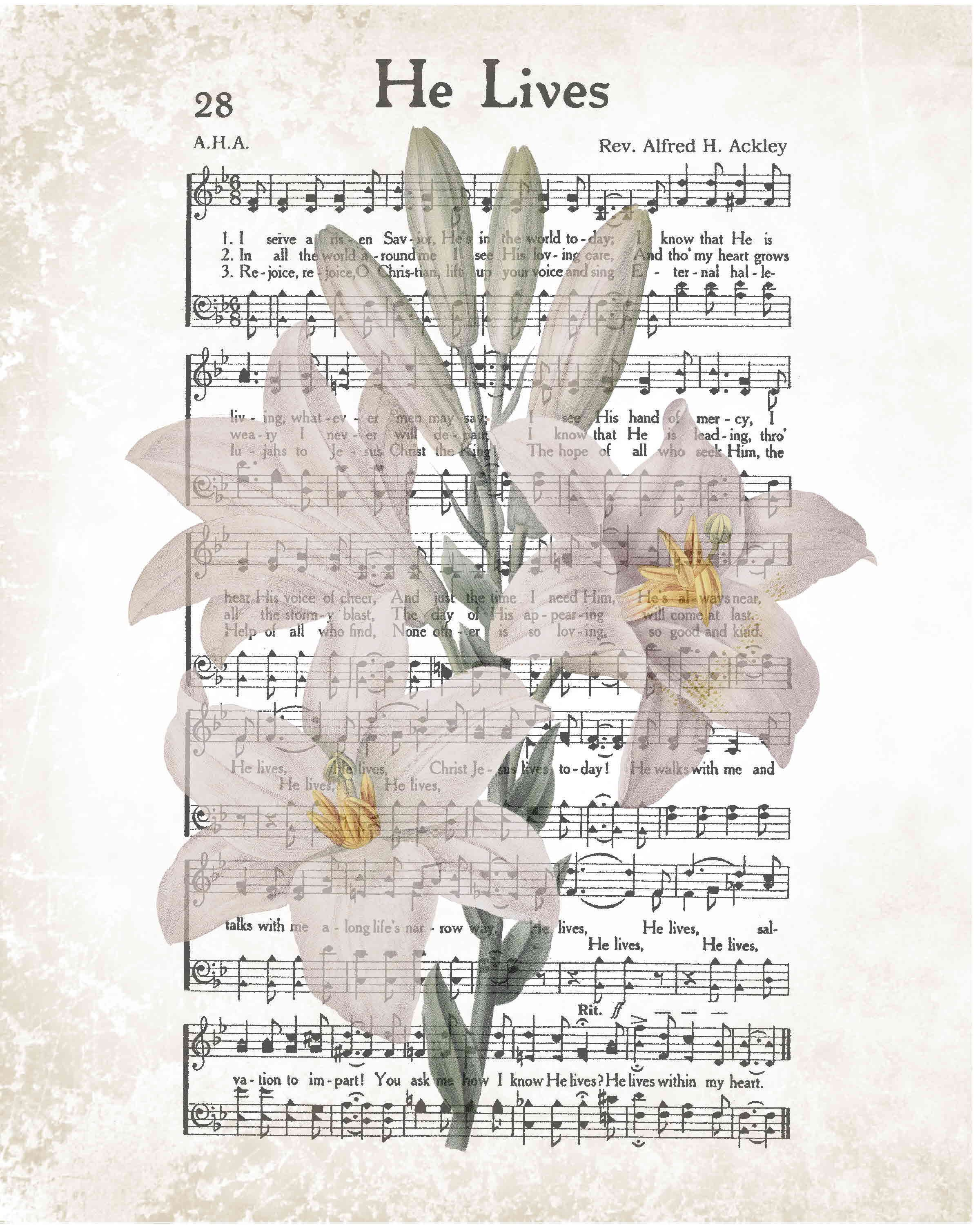 graphic regarding Printable Hymns named He Life Easter printable, rustic hymn with lily, Easter quick