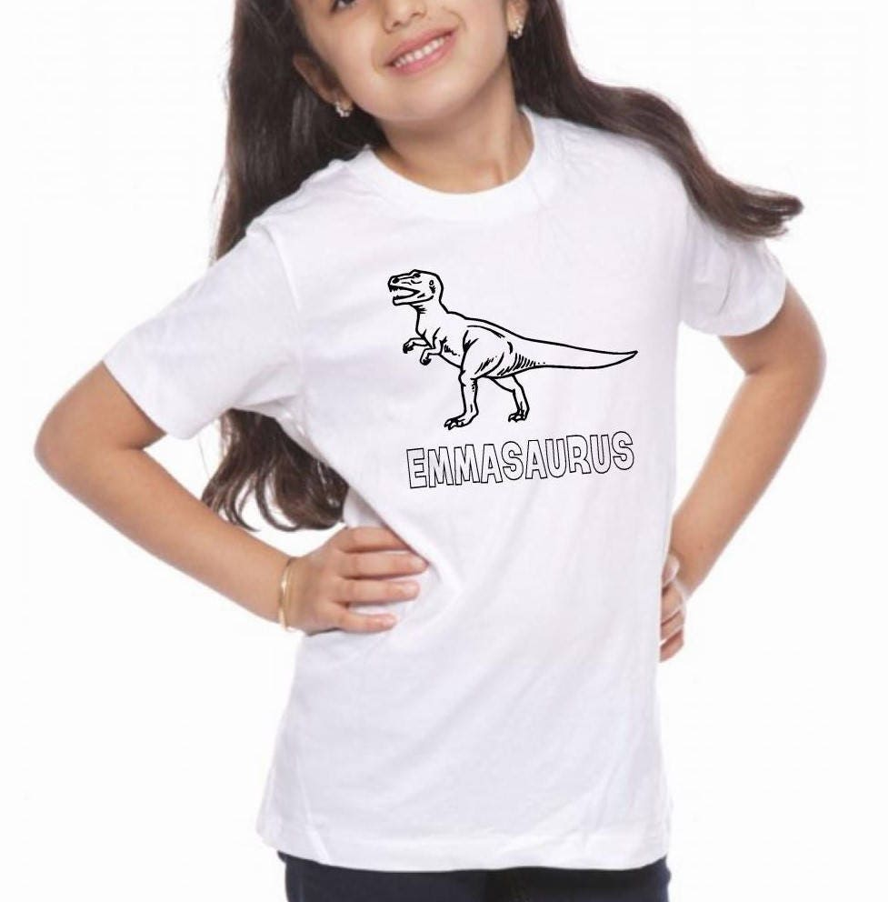 01ebb55f5 ... personalized dinosaur shirt, kids T Rex t shirt, coloring shirt, add your  own color, Boy Easter gift, dinosaur birthday tee. gallery photo gallery  photo ...