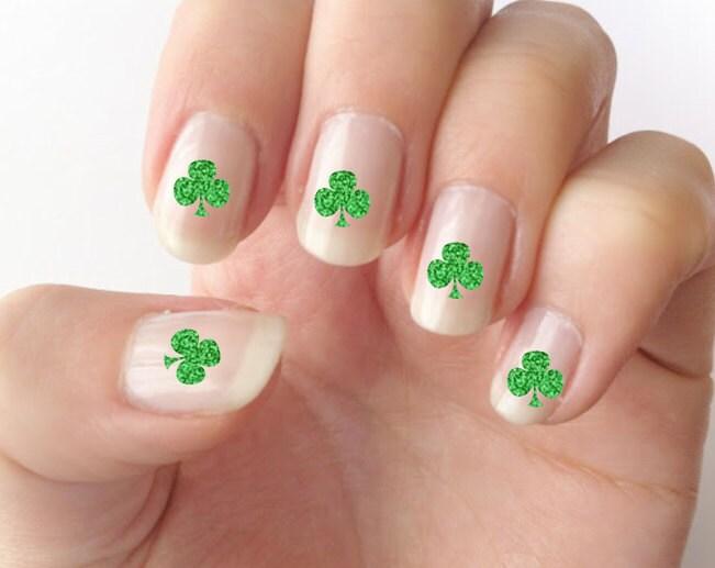 Nail decals, St. Patrick\'s day nails, shamrock nail decals, nail art ...