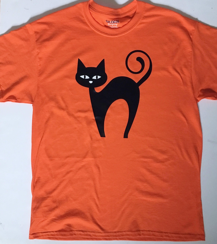 Halloween Shirt Glow In The Dark Tee Black Cat Glowing Eyes Orange T Shirt Adult Kids Party Shining Cute Spooky Costume