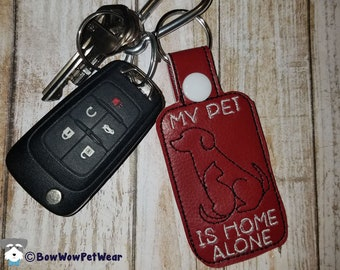 Pet Home Alone Emergency Contact Alert Keychain and Wallet Card
