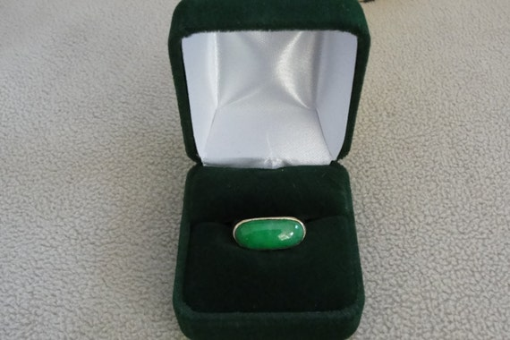 14 Kt. Gold and Jade Ladies Saddle Ring