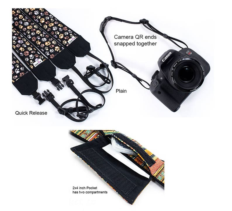 Camera Accessories Light Weight and Well Padded Camera Strap Flowers Camera Strap Roses Camera Strap with Cap//Lens Pocket Black DSLR Camera Strap Code 00237 Durable