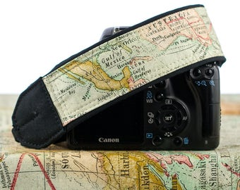 Camera Strap, Vintage Style Old World Map, dSLR, Camera Neck Strap, Canon camera strap, Nikon camera strap, Men's, Women's,  256