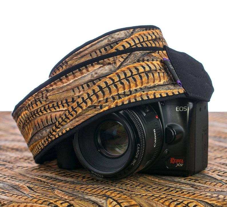 Camera Neck Strap Canon Nikon SLR 063 Men/'s Camera Strap Gold Black Pheasant Feathers dSLR Camera Strap Brown