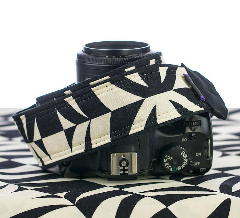 Tiki dSLR Camera Strap Black and Ivory Mirrorless Replacement Quick Release Canon Nikon Geometric SLR 104 Pocket