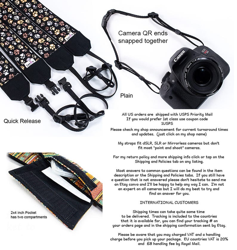 Camera Neck Strap Nikon 328 SLR Pocket Lacy Camera Strap Mirrorless Canon dSLR Universal fit