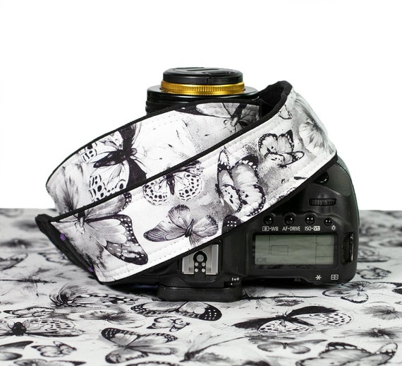 Black and White 333 Butterfly Camera Strap