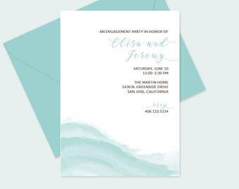 Ocean Waves Bridal Shower Invitation, Engagement Party, Wedding Invitation - FREE U.S. Shipping - Printed or DIY Printable