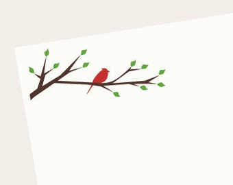 Personalized Notepad, Monogrammed Notepad - Bird on Branch