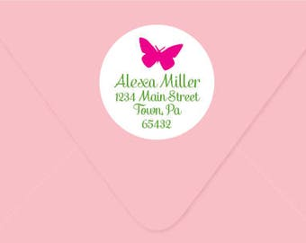 Personalized Address Label, Round Stationery label - Butterfly