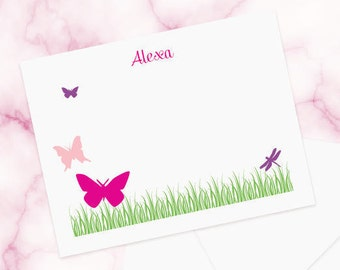 Personalized note card set, Printed cards or digital file - Butterflies