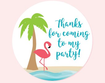 Birthday party sticker, thank you sticker - Flamingo