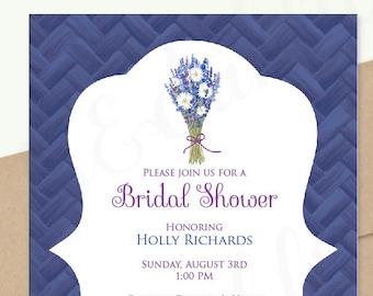 Bridal Shower Invitation, Birthday Party, Wedding Invitation, Free Shipping - Lavender Daisy Bouquet - Printed or DIY Printable