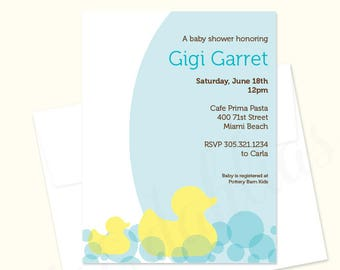 Rubber Duck Baby Shower Invitation, Sprinkle Invite, Girl, Boy, Gender Neutral, Printed or Printable file