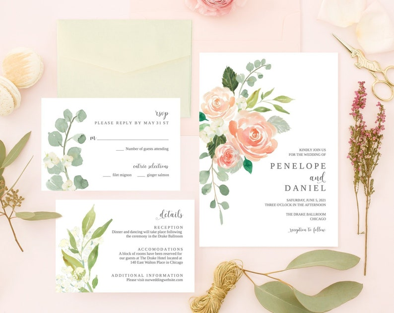 Peach and Blush Floral Wedding Invitation Suite Greenery image 0