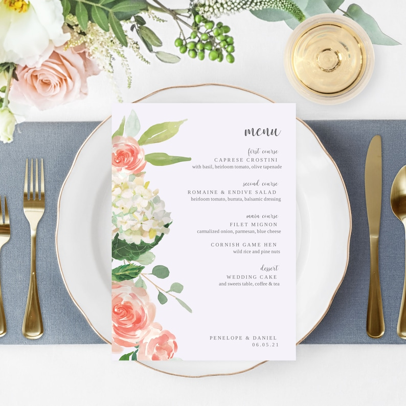 Floral Menu Template Printable Wedding Menu Editable Menu image 0