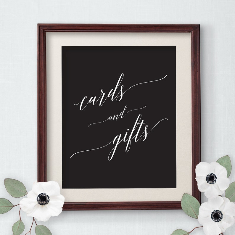 Printable Cards and Gifts Sign Wedding Sign Template Black image 0