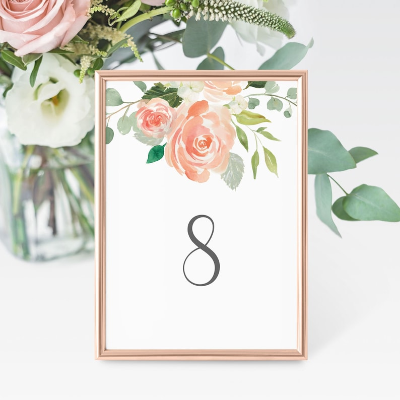 Floral Wedding Table Number Template and Pink and Blush image 0