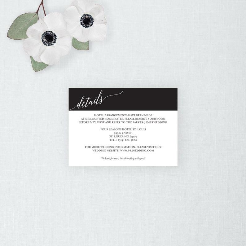 Calligraphy Script Wedding Details Card Printable Wedding image 0