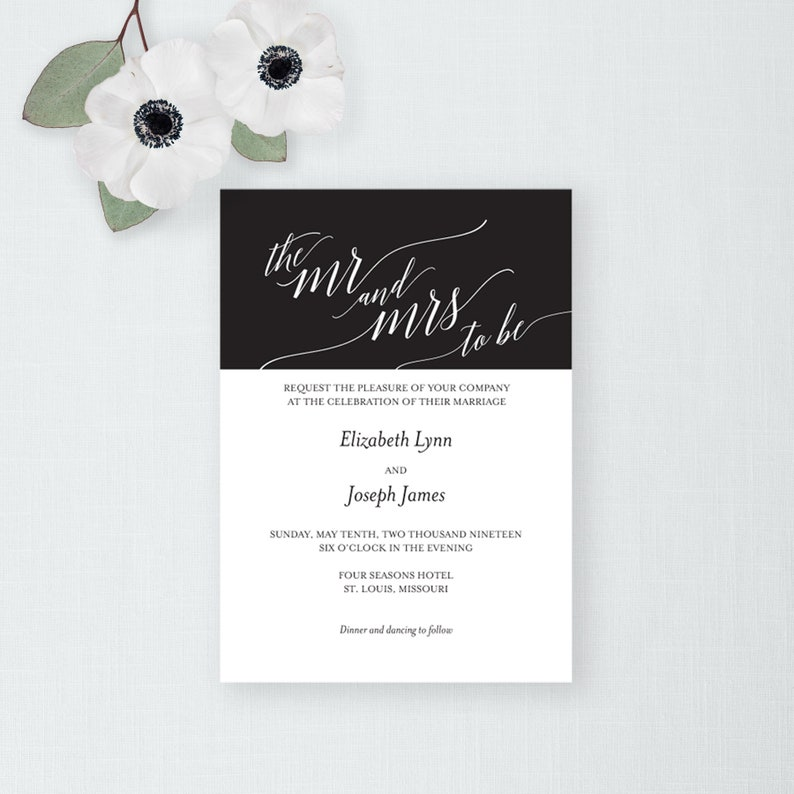 Calligraphy Wedding Invitation and Envelope Printable Wedding image 0