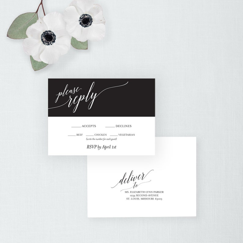 Calligraphy RSVP Card and envelope Printable Wedding Response image 0