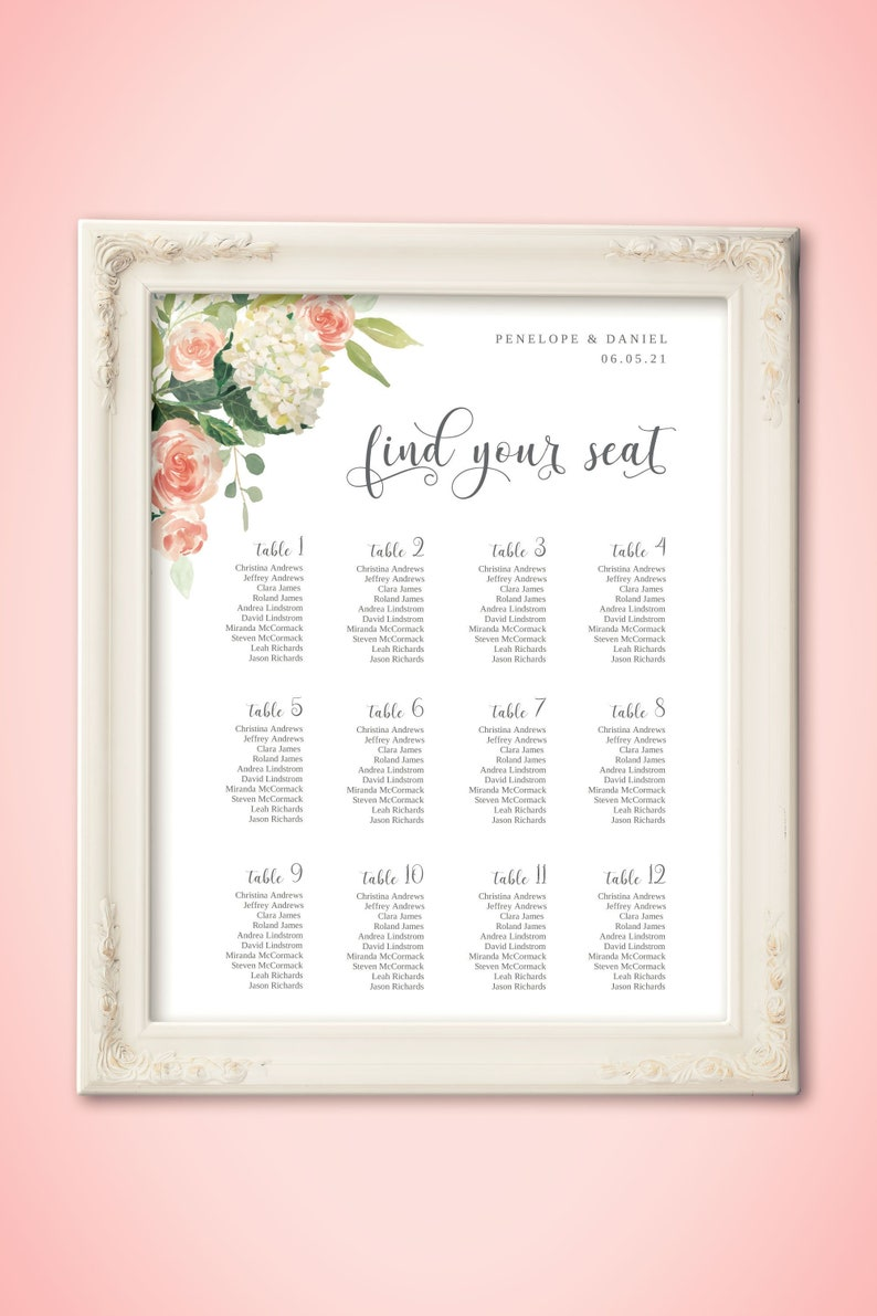 Floral Seating Chart Template Find Your Seat Sign Editable image 0