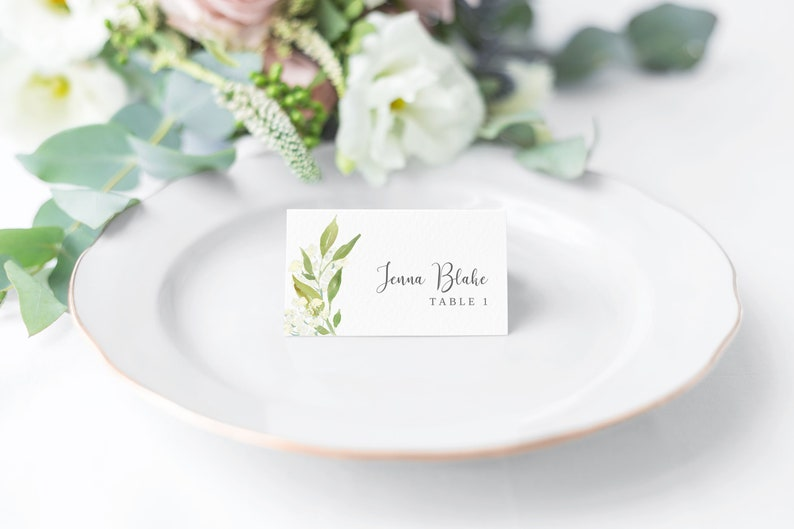 Wedding Place card Template Greenery place card Printable image 0